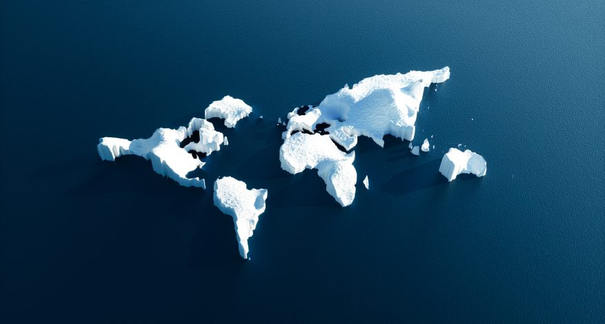 Conceptual image of melting world shaped glacier in deep blue water.