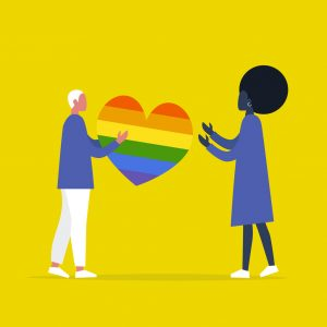 illustration of one person handing another person a rainbox heart