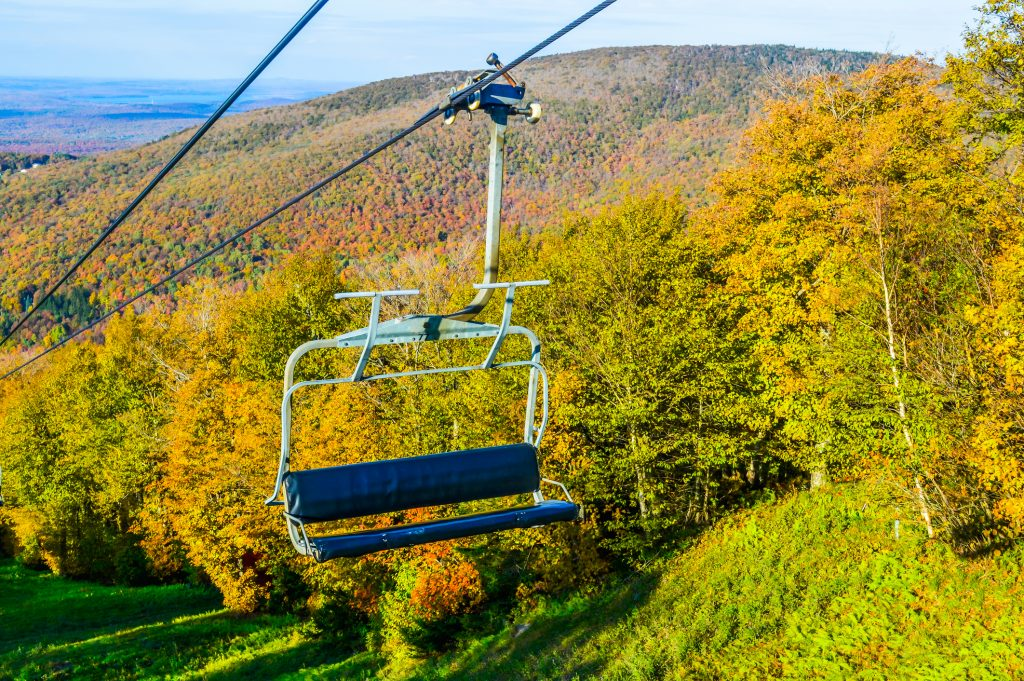 A view from the Mont Sutton chair-lift in Autumn.