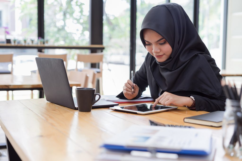 student doing work