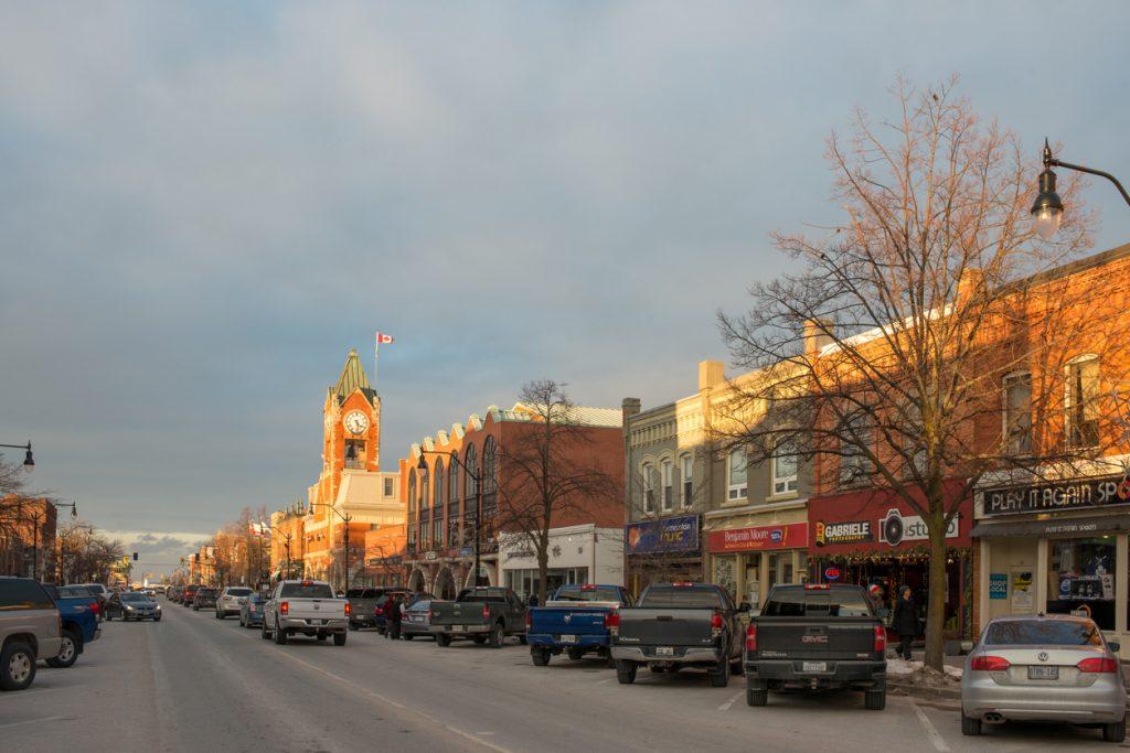 Evening sun shines the municipal building of Collingwood, Ontario.