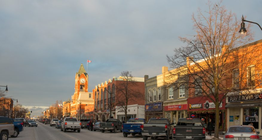 Evening sun shines the municipal building of Collingwood, Ontario.