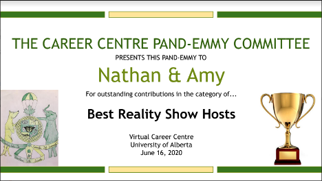 "Pandemic Emmys award certificate for ""Best Reality Show Hosts"""