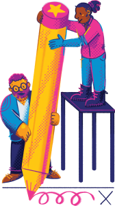 illustration of two people holding giant pencil