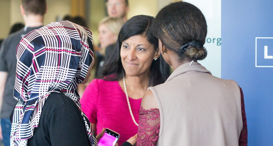 Zabeen Hirji chats with participants at CivicAction's YouthConnect event in 2017. YouthConnect helps youth prepare for the future of work through free online skills-building events focused on job searching, networking, and financial literacy.