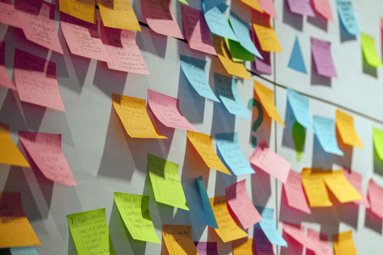 colourful sticky notes on wall