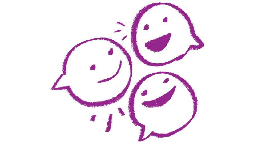 illustration of three happy purple speech bubbles