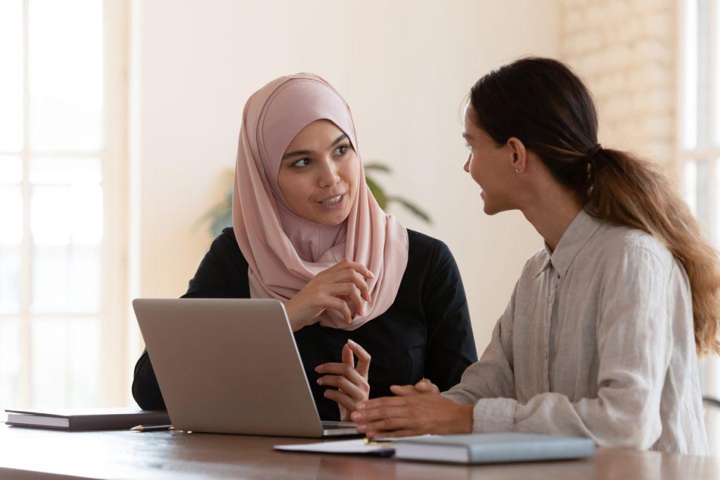 two women having meeting at work