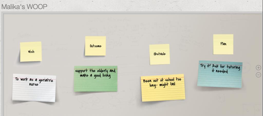 Screenshot of WOOP tool