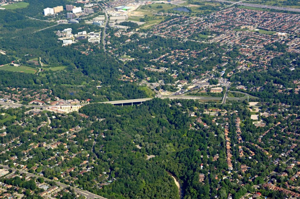 Aerial view of the Kingston road area in Scarborough, Ontario.