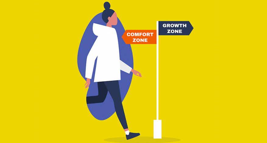 """Illustration of woman walking toward sign with arrow pointing backward with text """"Comfort zone"""" and forward with text """"Growth zone."""""""