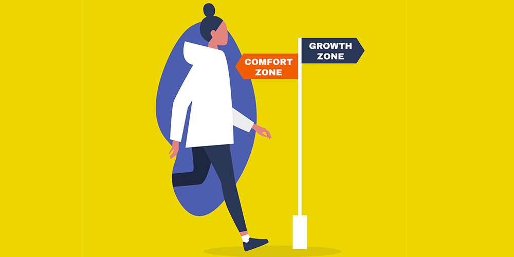 Illustration of woman walking toward sign with arrow pointing backward with text