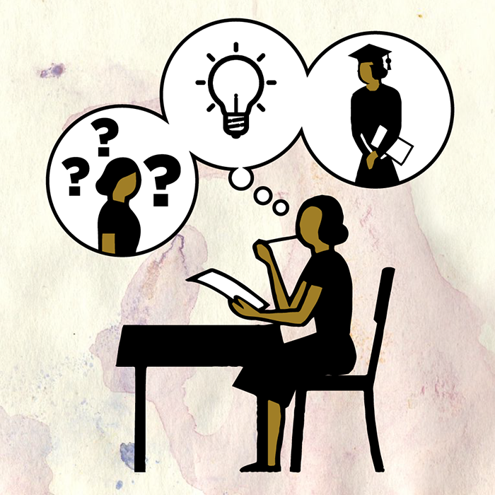 Illustration of woman sitting at desk with thought bubbles showing question marks, light bulb and woman graduating.