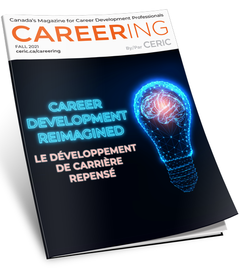 """Careering magazine cover: Image of neon glowing lightbulb with brain inside beside blue text """"CAREER DEVELOPMENT REIMAGINED"""""""